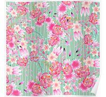 Vintage green white stripe pink bohemian floral Poster
