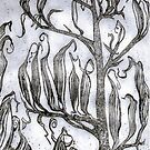 Etching : Flax Pods Gothic by Patricia Howitt