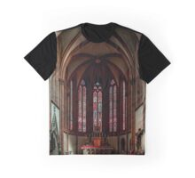 Majestic old church interior panoramic view, France Graphic T-Shirt
