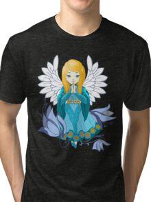 Cute praying Angel girl. Cartoon illustration Tri-blend T-Shirt