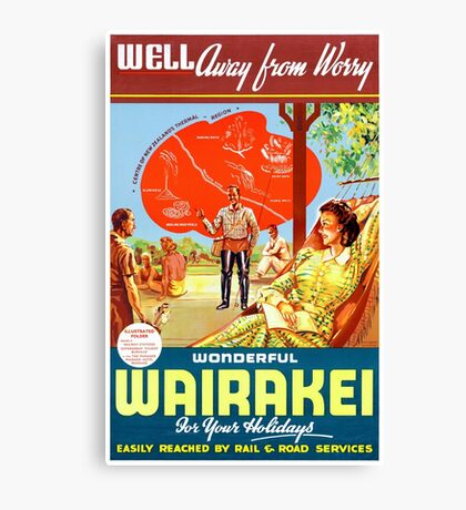 New Zealand Wairakei Vintage Travel Poster Canvas Print