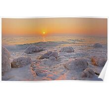 Sun rising over the Dead Sea, Israel  Poster