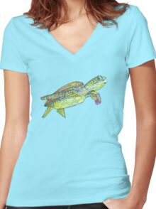 Sea turtle drawing - 2015 Women's Fitted V-Neck T-Shirt