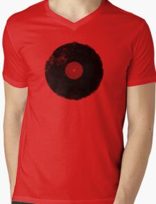 Grunge Vinyl Record Mens V-Neck T-Shirt