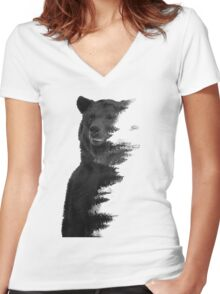 bear graphic nature photography Women's Fitted V-Neck T-Shirt