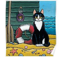 A Cat's Day Out at the Beach Poster