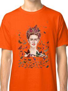 Frida Kahlo Flowers Butterflies Classic T-Shirt