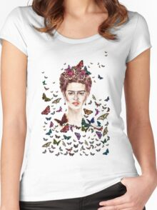 Frida Kahlo Flowers Butterflies Women's Fitted Scoop T-Shirt