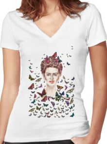 Frida Kahlo Flowers Butterflies Women's Fitted V-Neck T-Shirt