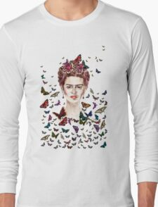 Frida Kahlo Flowers Butterflies Long Sleeve T-Shirt
