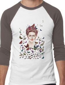 Frida Kahlo Flowers Butterflies Men's Baseball ¾ T-Shirt