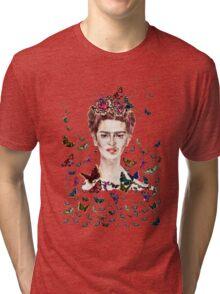 Frida Kahlo Flowers Butterflies Tri-blend T-Shirt