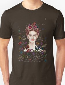 Frida Kahlo Flowers Butterflies Unisex T-Shirt