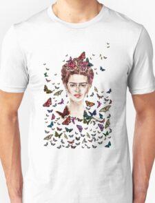 Frida Kahlo Flowers Butterflies T-Shirt