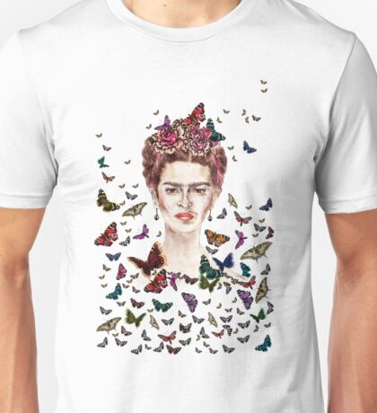 Frida Kahlo Flowers Butterflies Unisex T-Shirt