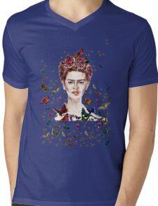 Frida Kahlo Flowers Butterflies Mens V-Neck T-Shirt