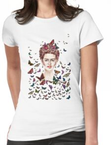 Frida Kahlo Flowers Butterflies Womens Fitted T-Shirt
