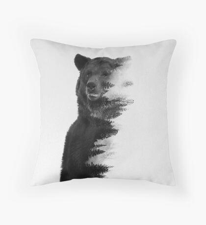 bear graphic nature photography Throw Pillow