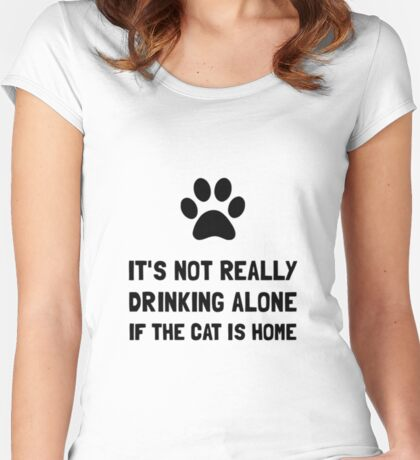Drinking Alone Cat Women's Fitted Scoop T-Shirt