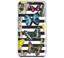 Vintage colorful butterfly black white stripes  iPhone Case/Skin