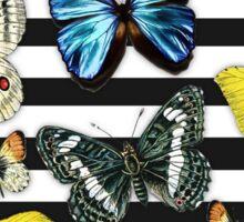 Vintage colorful butterfly black white stripes  Sticker