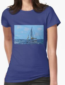 Caribbean sailboat Womens Fitted T-Shirt
