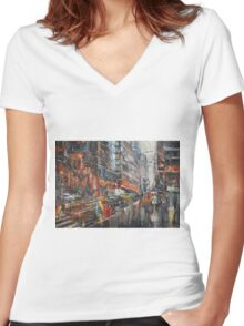 One Rainy Evening Women's Fitted V-Neck T-Shirt