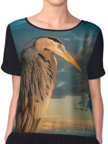 Great Blue Heron and Blue sunset Chiffon Top