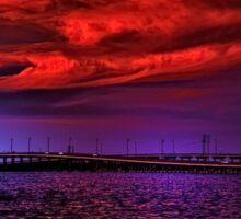 Sunset over Punta Gorda bridge Sticker