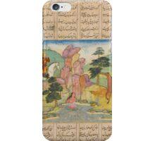 An illustrated leaf from a copy of Nizami's Khamsa, Khosrow spies Shirin bathing, Mughal, circa  iPhone Case/Skin