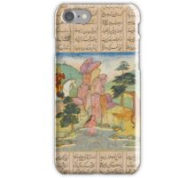 An illustrated leaf from a copy of Nizami's Khamsa, Khosrow spies Shirin bathing, Mughal, circa  iPhone Case/Skin