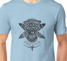 Surfing skull maverick monochrome Unisex T-Shirt