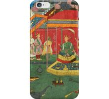 An illustration from the Razmnama, Yudhishthira and his brothers ask Bhishma for his permission to fight, by Yusuf 'Ali, India, Mughal iPhone Case/Skin