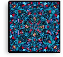 Pink, light blue springtime mandala on black Canvas Print