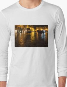 Golden Glow - Night on the Spanish Steps Piazza in Rome, Italy Long Sleeve T-Shirt