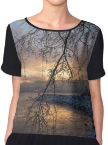 A Curtain of Frozen Branches - Ice Storm Sunrise Chiffon Top