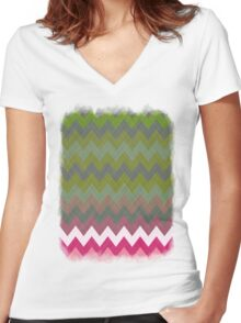 Pink Roses in Anzures 3 Chevron 5T Women's Fitted V-Neck T-Shirt