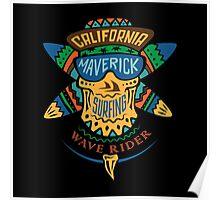 Surfing skull maverick color Poster