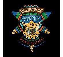 Surfing skull maverick color Photographic Print
