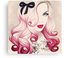 Red Lips Eye Curl  Canvas Print