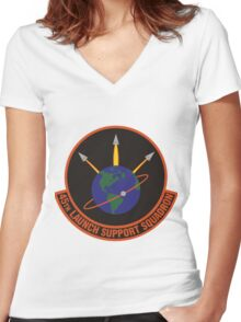 45th Launch Support Squadron Logo Women's Fitted V-Neck T-Shirt