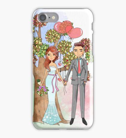 Beautiful Wedding Bride and Groom Hearts Tree iPhone Case/Skin