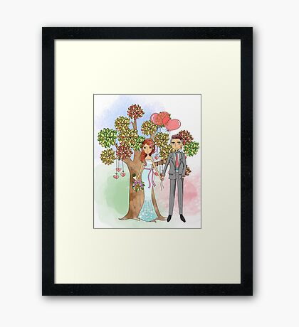 Beautiful Wedding Bride and Groom Hearts Tree Framed Print