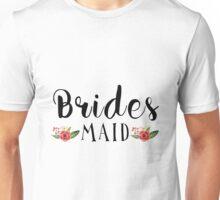 Bridesmaid Black Modern text Design Floral Accent Unisex T-Shirt