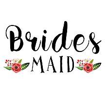 Bridesmaid Black Modern text Design Floral Accent Photographic Print