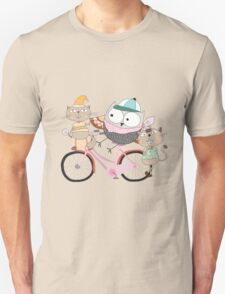 Cute Cartoon Animals Owl and Pussy Cats Unisex T-Shirt