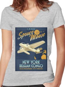 Fly the Spruce Moose Women's Fitted V-Neck T-Shirt