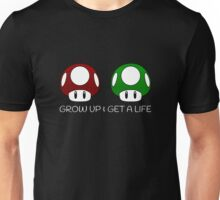 Grow Up & Get a Life Mushrooms (White Text) Unisex T-Shirt
