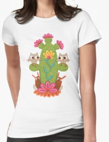 Cactus Hoot Womens Fitted T-Shirt