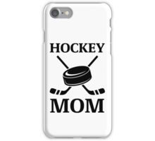 Hockey Mom Ice Hockey Logo with Puck and Sticks iPhone Case/Skin